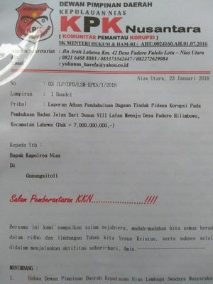 Laporan Dewan Pimpinan Daerah Komunitas Pemantau Korupsi Nusantara sudah Mulai Diproses