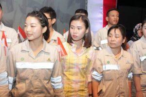 Foto: TKA Tiongkok dalam Semarak HUT RI di kawasan PT IMIP.