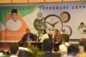 Foto: Sekretaris Daerah Provinsi Sumatera Utara, Sabrina, Prof. DR Syahrin Harahap tampil sebagai narasumber dan selaku moderator Togar Nainggolan, Rabu (12/9/2018).