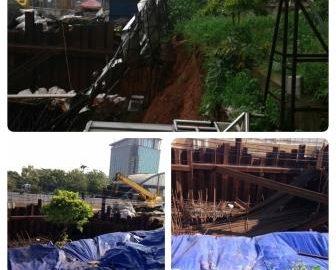Proyek LRT Cawang Amblas Akibat Hujan Deras Melanda Jakarta