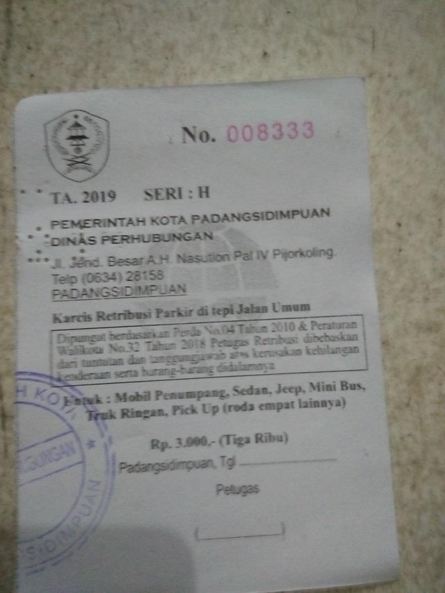 Foto: Karcis Retribusi Parkir Pemko Padangsidimpuan.