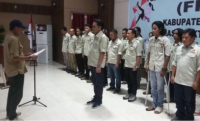 Prosesi pelantikan pengurus Cabang FPTI Kabupaten Morowali masa bhakti 2019-2023.