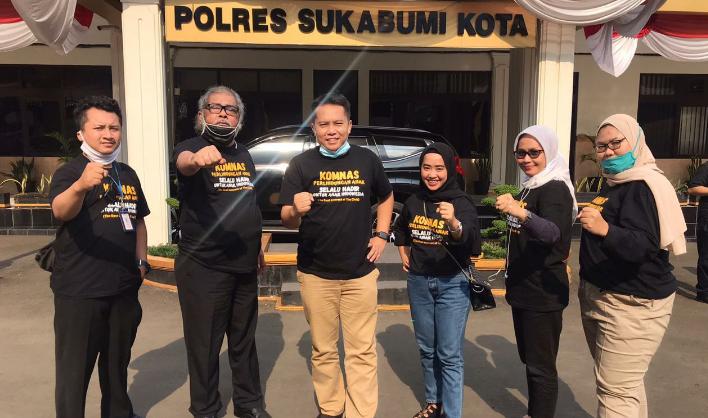 Arist Merdeka Sirait bersama Sekjen Komnas Perlindungan Anak dan Dewan Komisioner beserta Staff saat beraudensi dengan  Kapolres Sukabumi Kota.